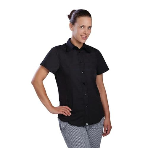 Chef Works Womens Cool Vent Chefs Shirt Black XS